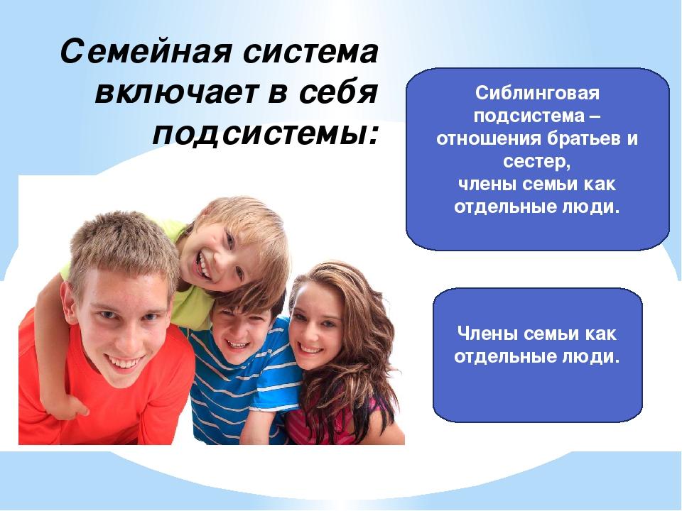 Семейная система включает в себя подсистемы: Сиблинговая подсистема – отношен...
