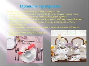 Правила сервировки Размер скатерти должен соответствовать размеру стола. Скат