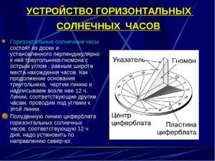 УСТРОЙСТВО ГОРИЗОНТАЛЬНЫХ СОЛНЕЧНЫХ ЧАСОВ Горизонтальные солнечные часы состо