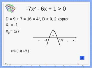 -7х2 - 6х + 1 > 0 D = 9 + 7 = 16 = 42, D > 0, 2 корня X1 = -1 X2 = 1/7 + - -