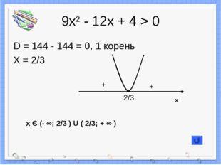 9х2 - 12х + 4 > 0 D = 144 - 144 = 0, 1 корень X = 2/3 + + 2/3 x Є (- ∞; 2/3 )