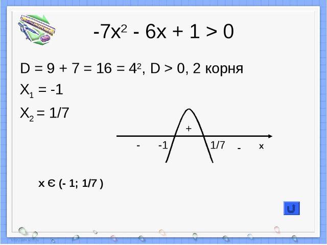 -7х2 - 6х + 1 > 0 D = 9 + 7 = 16 = 42, D > 0, 2 корня X1 = -1 X2 = 1/7 + - -...
