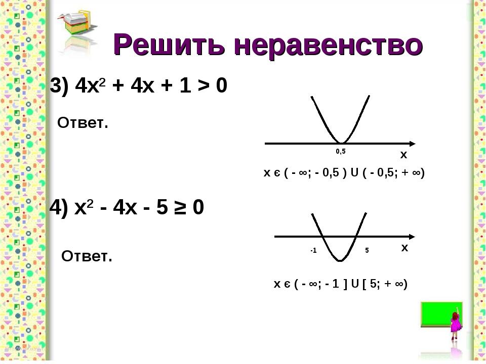 Решить неравенство 3) 4х2 + 4х + 1 > 0 Ответ. 4) х2 - 4х - 5 ≥ 0 Ответ.