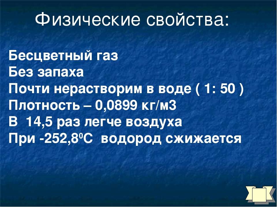 Бесцветный газ Без запаха Почти нерастворим в воде ( 1: 50 ) Плотность – 0,08...