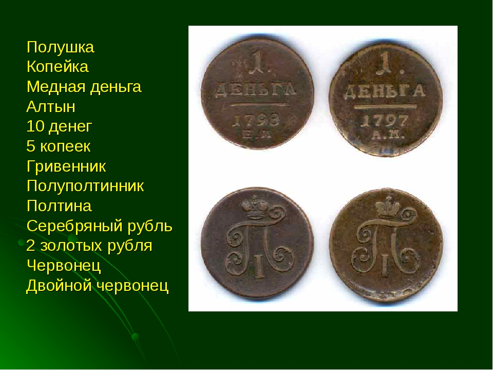 Полушка Копейка Медная деньга Алтын 10 денег 5 копеек Гривенник Полуполтинник...
