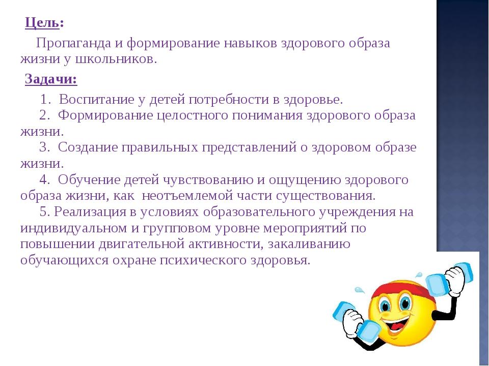 Цель:  Пропаганда и формирование навыков здорового образа жизни у школьник...
