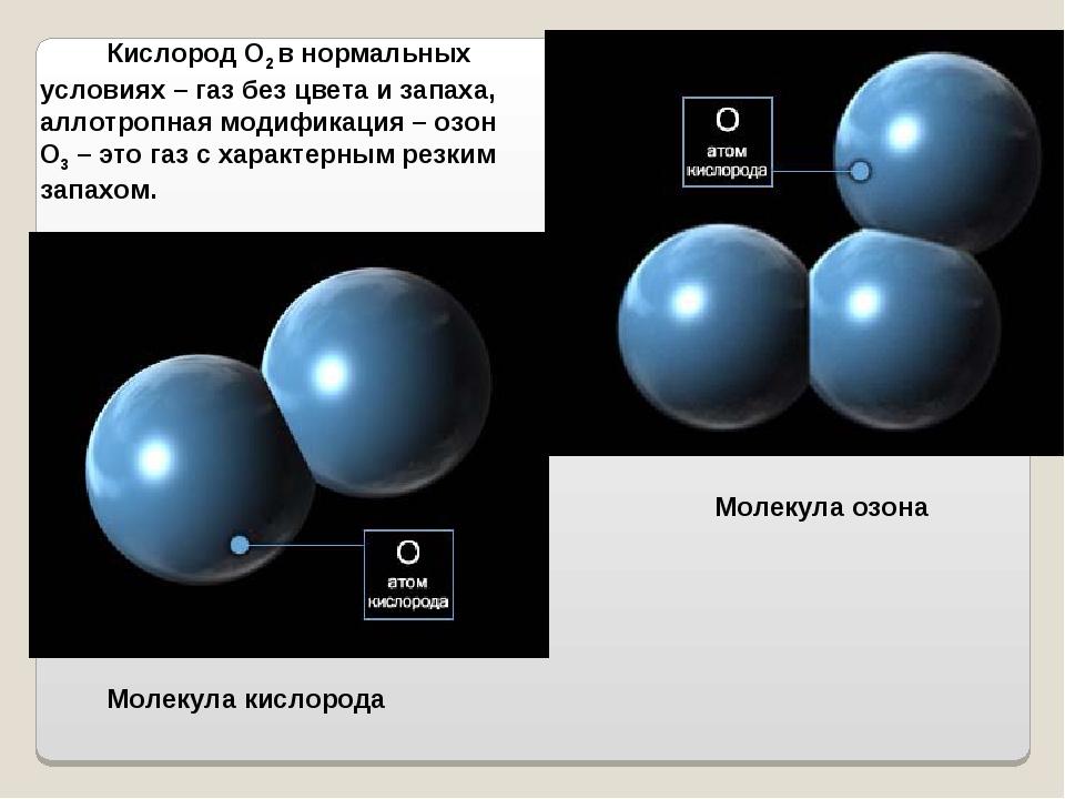 Кислород О2 в нормальных условиях – газ без цвета и запаха, аллотропная моди...