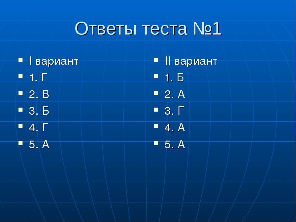 Ответы теста №1 I вариант 1. Г 2. В 3. Б 4. Г 5. А II вариант 1. Б 2. А 3. Г...
