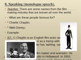 8. Speaking (monologue speech). Teacher: There are some names from the film m