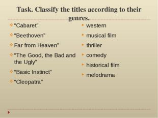 "Task. Classify the titles according to their genres. ""Cabaret"" ""Beethoven"" Fa"