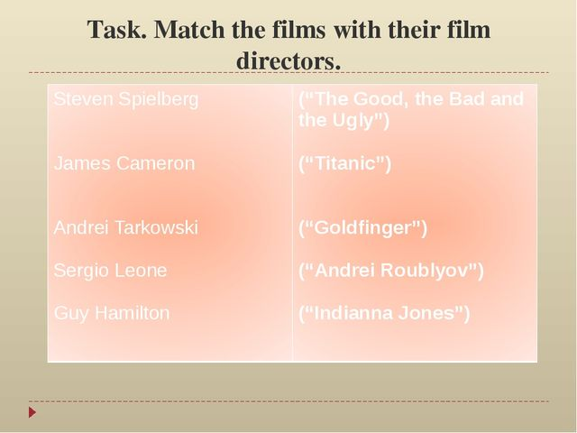 Task. Match the films with their film directors. Steven Spielberg James Camer...