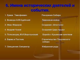 6. Имена исторических деятелей и события. 1. Ермак Тимофеевич Покорение Сибир
