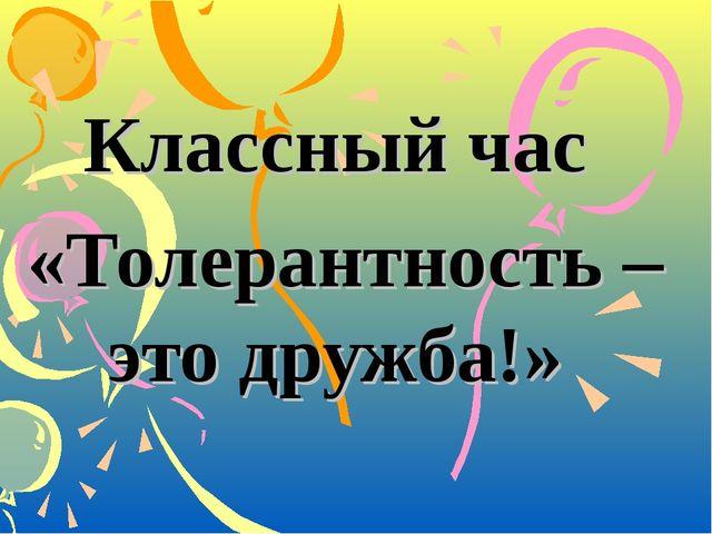 Классный час «Толерантность – это дружба!»