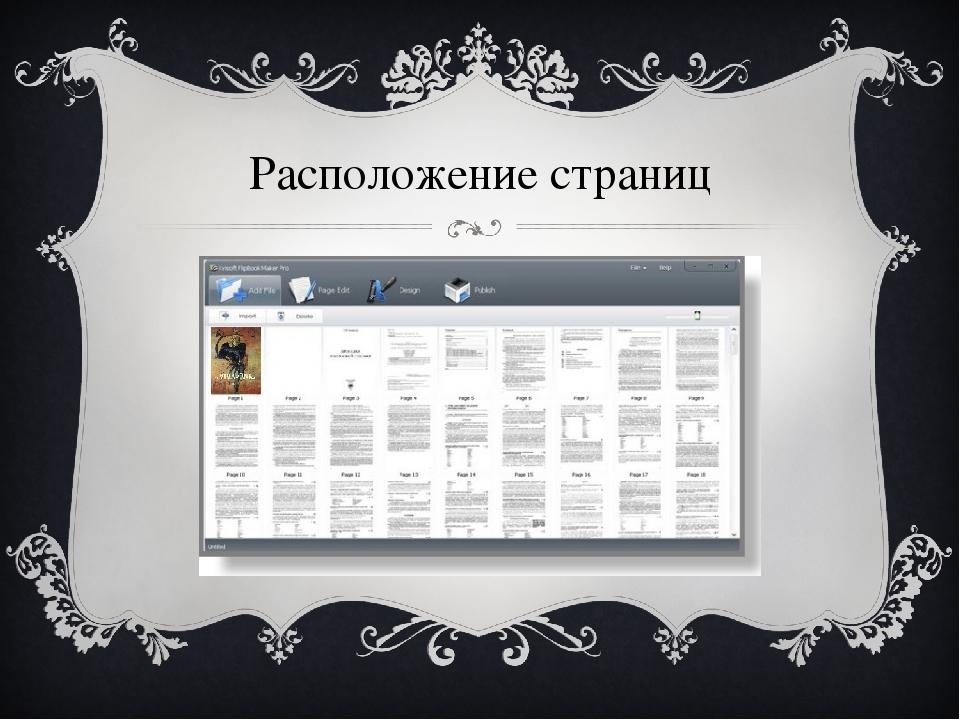 Расположение страниц