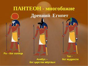 ПАНТЕОН - многобожие Древний Египет Ра – бог солнца Анибус – бог царства мёрт
