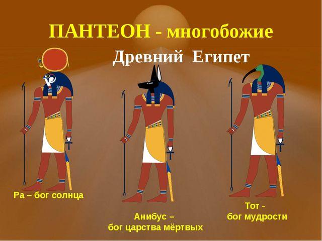 ПАНТЕОН - многобожие Древний Египет Ра – бог солнца Анибус – бог царства мёрт...