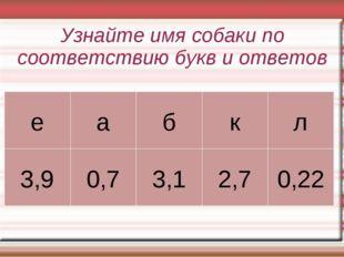 Узнайте имя собаки по соответствию букв и ответов еабкл 3,90,73,12,70