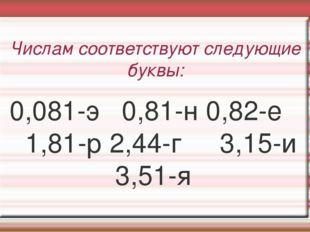 Числам соответствуют следующие буквы: 0,081-э 0,81-н 0,82-е 1,81-р 2,44-г 3,1