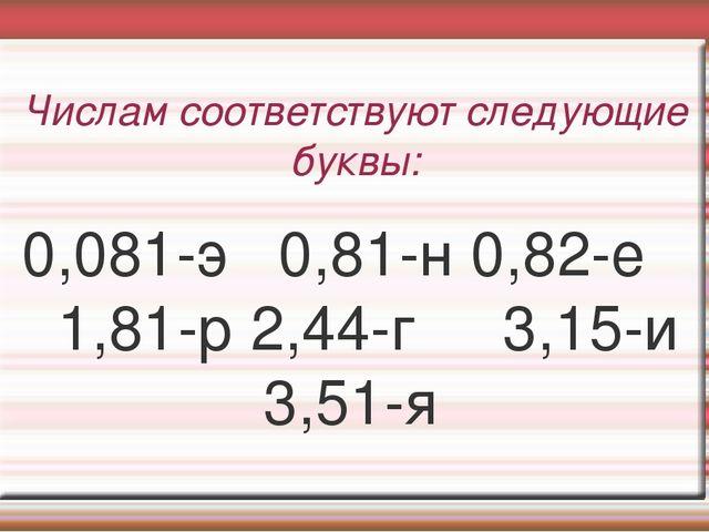 Числам соответствуют следующие буквы: 0,081-э 0,81-н 0,82-е 1,81-р 2,44-г 3,1...