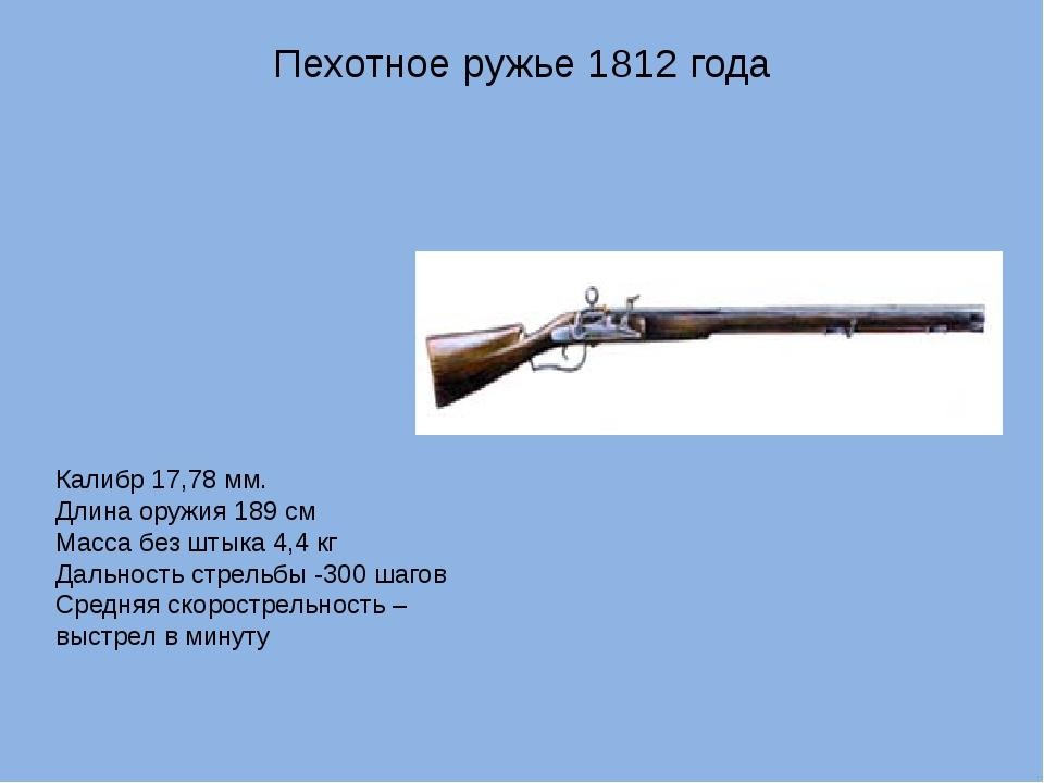 Пехотное ружье 1812 года Калибр 17,78 мм. Длина оружия 189 см Масса без штыка...