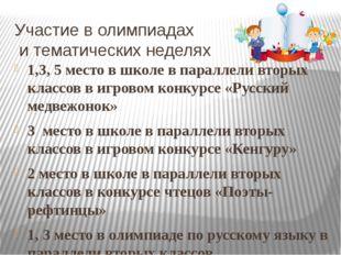 Участие в олимпиадах и тематических неделях 1,3, 5 место в школе в параллели