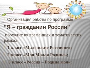 """Организация работы по программе """"Я – гражданин России"""" проходит во временных"""