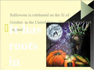 Halloween is celebrated on the 31 of October in the United States, Canada, Ir