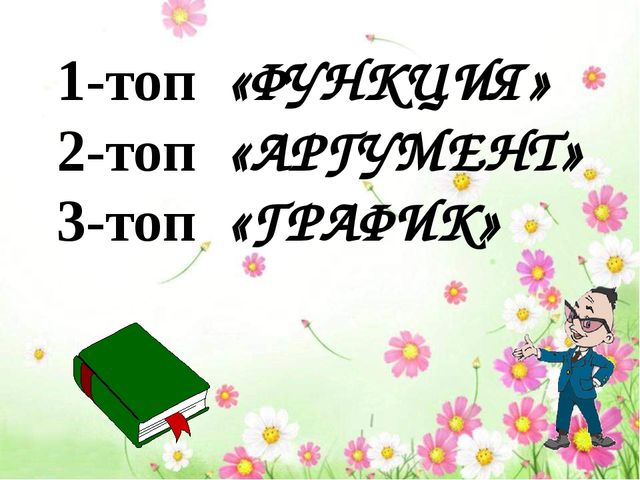 1-топ «ФУНКЦИЯ» 2-топ «АРГУМЕНТ» 3-топ «ГРАФИК»