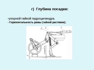 г) Глубина посадки: -упорной гайкой гидроцилиндра. - Горизонтальность рамы (
