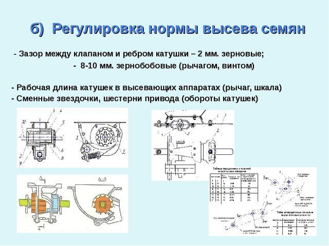 б) Регулировка нормы высева семян - Зазор между клапаном и ребром катушки –...