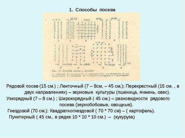 Рядовой посев (15 см.) ; Ленточный (7 – 8см. – 45 см.); Перекрестный (15 см....