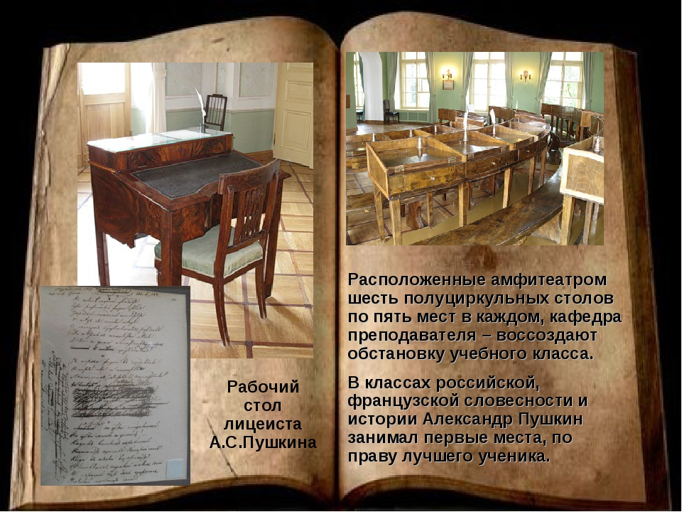 Рабочий стол лицеиста А.С.Пушкина Расположенные амфитеатром шесть полуциркуль...
