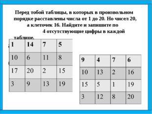 Перед тобой таблицы, в которых в произвольном порядке расставлены числа от 1