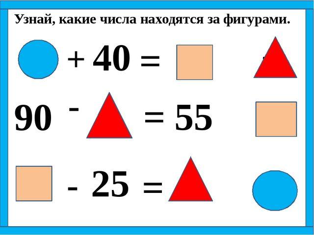 20 60 35 + 40 = 90 - = - = 55 25 Узнай, какие числа находятся за фигурами.