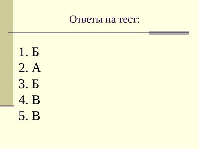 Ответы на тест: 1. Б 2. А 3. Б 4. В 5. В