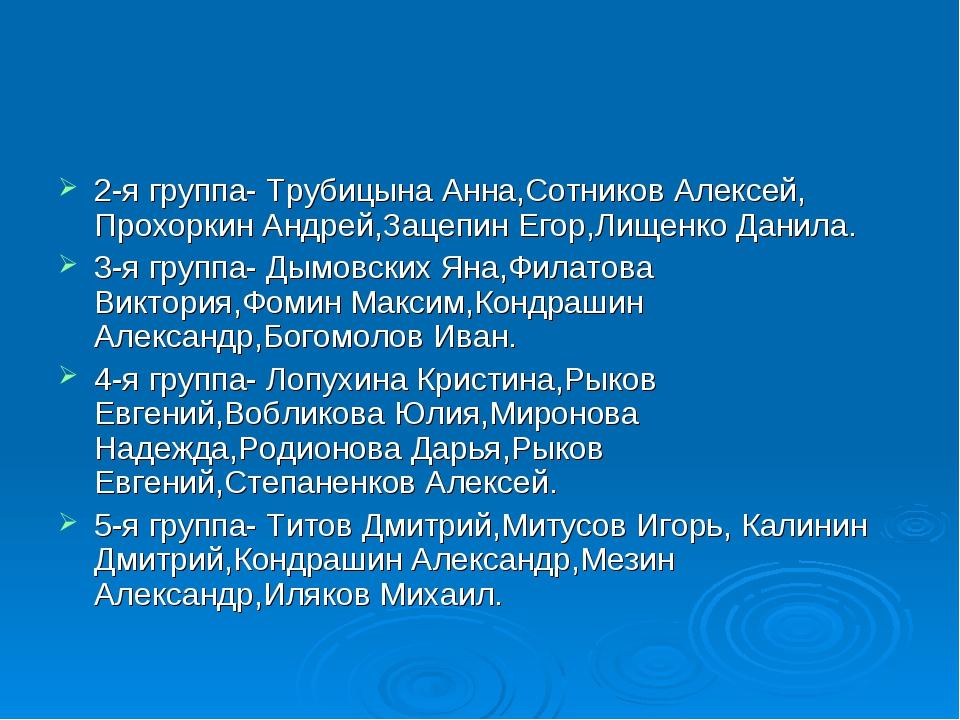 2-я группа- Трубицына Анна,Сотников Алексей, Прохоркин Андрей,Зацепин Егор,Ли...