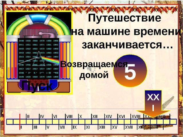 Путешествие на машине времени заканчивается… Пуск нажать 0 XXI 1 2 3 4 5 Возв...