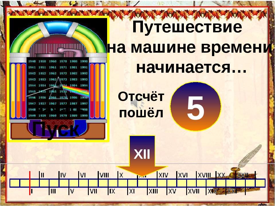 Путешествие на машине времени начинается… Пуск нажать 0 XII 1 2 3 4 5 Отсчёт...