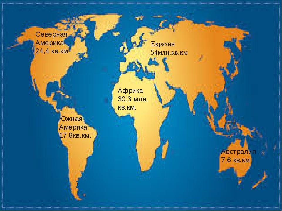 Евразия 54млн.кв.км Африка 30,3 млн. кв.км. Северная Америка 24,4 кв.км Южная...