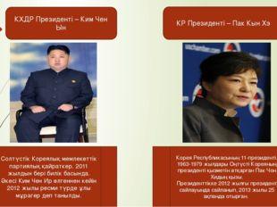 КХДР Президенті – Ким Чен Ын КР Президенті – Пак Кын Хэ Корея Республикасының