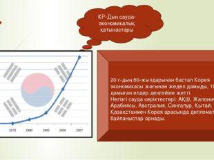 КР-Дың сауда-экономикалық қатынастары 20 ғ-дың 60-жылдарынан бастап Корея эко