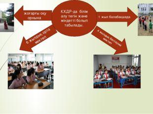 КХДР-да білім алу тегін және міндетті болып табылады. 1 жыл балабақшада 4 жыл