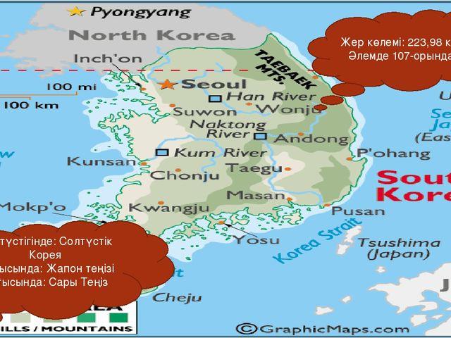 Жер көлемі: 223,98 км² Әлемде 107-орында Солтүстігінде: Солтүстік Корея Шығыс...