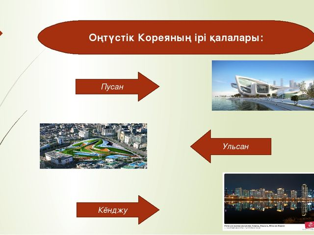 Оңтүстік Кореяның ірі қалалары: Пусан Кёнджу Ульсан