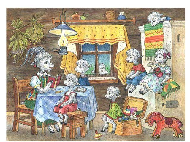В какой сказке мама оставила своих детей-козлят дома одних и надолго ушла? Ли...