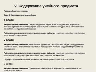 V. Содержание учебного предмета Раздел «Электротехника» Тема 1. Бытовые элект