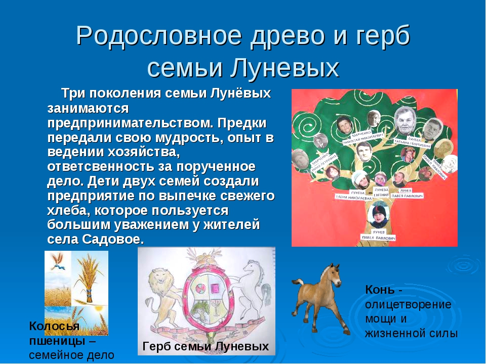Родословное древо и герб семьи Луневых Три поколения семьи Лунёвых занимаются...