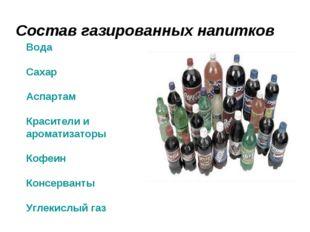 Состав газированных напитков Вода Сахар Аспартам Красители и ароматизаторы Ко