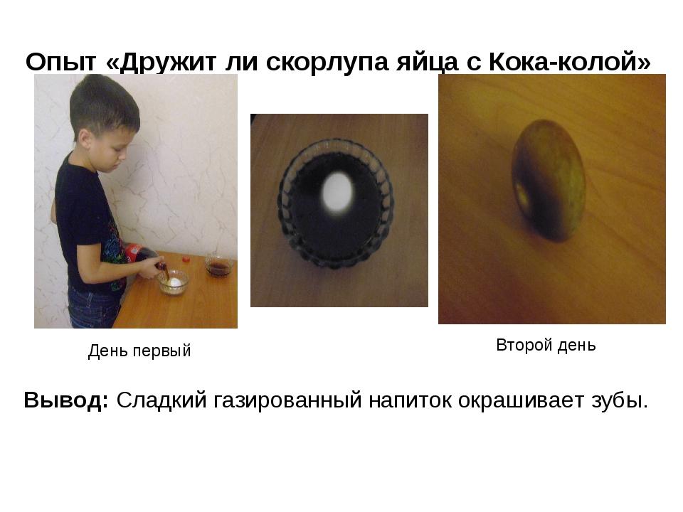 Опыт «Дружит ли скорлупа яйца с Кока-колой» День первый Второй день Вывод: Сл...