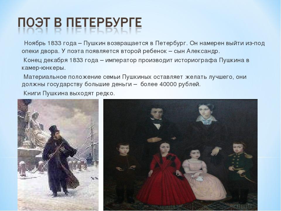 Ноябрь 1833 года – Пушкин возвращается в Петербург. Он намерен выйти из-под...